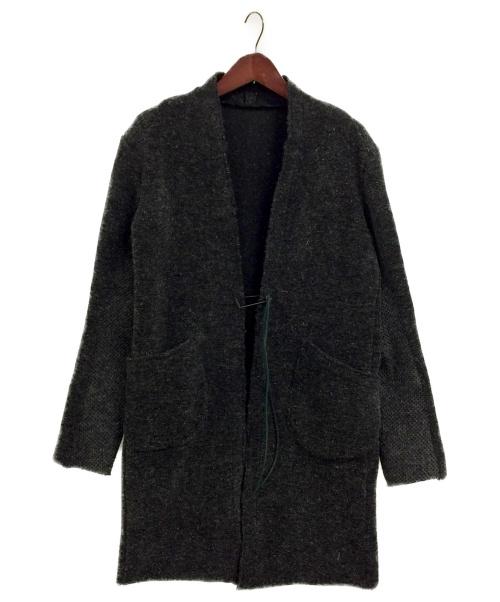 D.HYGEN(ディーハイゲン)D.HYGEN (ディーハイゲン) ケンピ混ウールボア ロングカーディガン チャコールグレー サイズ:3の古着・服飾アイテム