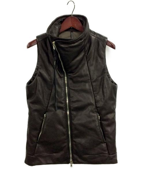 thee old circus(ジオールドサーカス)THEE OLD CIRCUS (ジオールドサーカス) Leather 120g Fiber Down Vest ブラック サイズ:2 牛革の古着・服飾アイテム