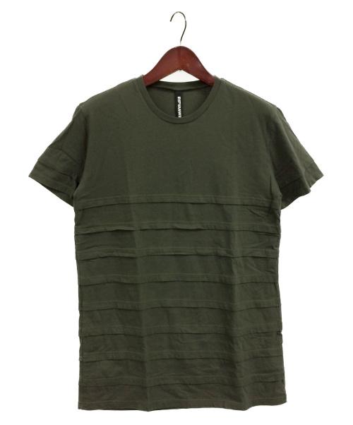 ripvanwinkle(リップヴァンウィンクル)ripvanwinkle (リップヴァンウィンクル) LAYERED BORDER-T カーキ サイズ:5の古着・服飾アイテム