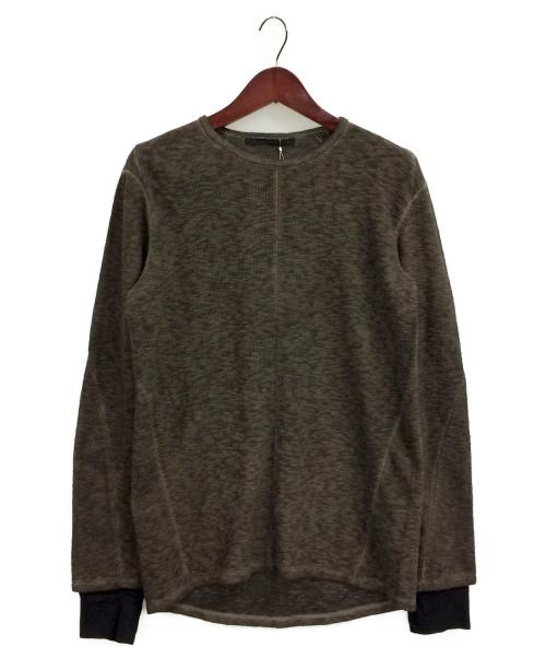 D.HYGEN(ディーハイゲン)D.HYGEN (ディーハイゲン) スラブジャージー レイヤードロングスリーブTシャツ ブラウン サイズ:3の古着・服飾アイテム