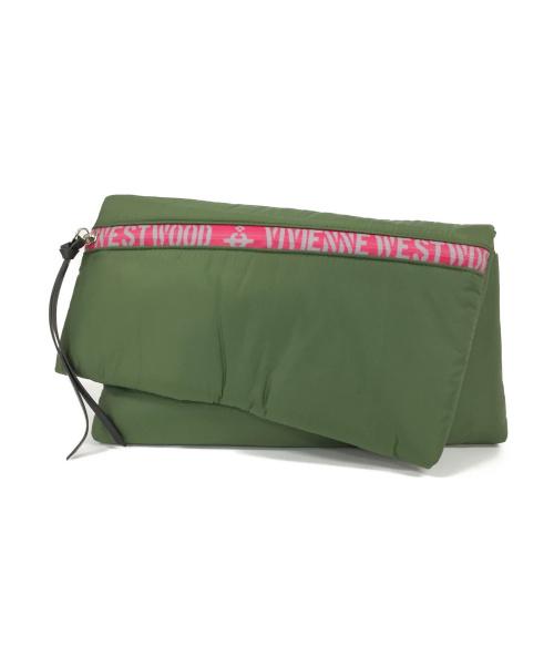 Vivienne Westwood(ヴィヴィアンウエストウッド)Vivienne Westwood (ヴィヴィアンウエストウッド) ロゴファスナーショルダーバッグ グリーン 未使用品の古着・服飾アイテム