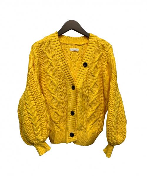 Loungedress(ラウンジドレス)Loungedress (ラウンジドレス) ニットカーディガン イエロー サイズ:Fの古着・服飾アイテム