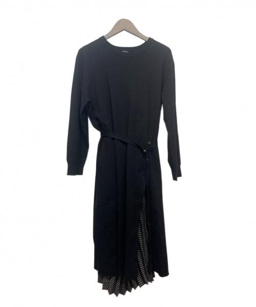 INDIVI(インディビ)INDIVI (インディヴィ) ニット前ボタンワンピース ブラック サイズ:19の古着・服飾アイテム