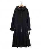 SPECCHIO(スペッチオ)の古着「ボンディング切り替えキャンディスリーブフーデッドコート」|ブラック