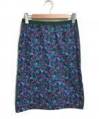 sacai luck(サカイ ラック)の古着「フラワープリントスカート」 ネイビー