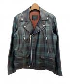 UNDERCOVER()の古着「タータンチェックライダースジャケット」|グリーン×ブラック