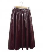 CAST:(キャスト)の古着「パテントボリュームスカート」|ボルドー