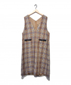 KMKK(ケィエムケィケィ)の古着「ツイードチェックワンピース」|ベージュ