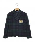 POLO RALPH LAUREN(ポロ・ラルフローレン)の古着「ワッペン付チェックテーラードジャケット」|グリーン