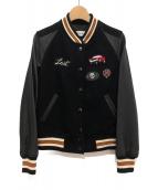 COACH(コーチ)の古着「レザー切替スタジアムジャケット」|ブラック