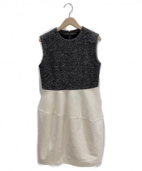 YOKO CHAN(ヨーコチャン)YOKO CHAN (ヨーコチャン) ツイード切替ワンピース アイボリー×ブラック サイズ:38の古着・服飾アイテム