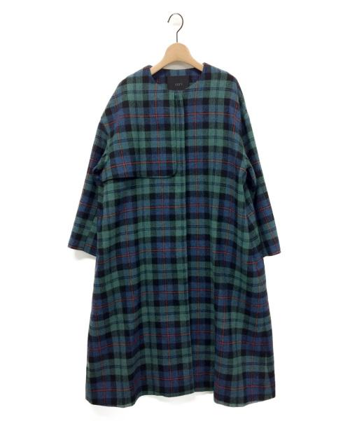 YORI(ヨリ)yori (ヨリ) ウールチェックノーカラーコート グリーン サイズ:36の古着・服飾アイテム