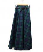 BLUE LABEL CRESTBRIDGE()の古着「ブラックウォッチチェックウールスカート」|グリーン