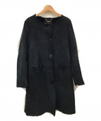 OWEN BARRY(オーエンバリー)の古着「ノーカラームートンコート」|ネイビー
