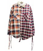 ()の古着「襟ボアチェックシャツ」|レッド