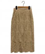 CELFORD()の古着「ペイズリーレースタイトスカート」|ベージュ
