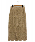 CELFORD(セルフォード)の古着「ペイズリーレースタイトスカート」|ベージュ