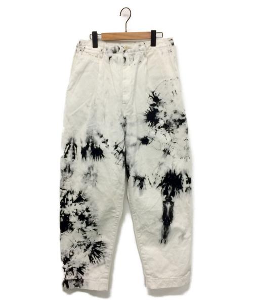 KAPITAL(キャピタル)KAPITAL (キャピタル) かつらぎハイウエストニームパンツ ホワイト×ブラック サイズ:3の古着・服飾アイテム