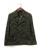 ()の古着「カモ柄Pコート」|オリーブ