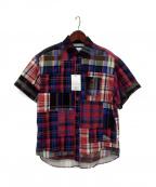 WHITE MOUNTAINEERING(ホワイトマウンテ二アニング)の古着「半袖マドラスチェックシャツ」|レッド×ブルー
