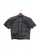 ()の古着「パンチング半袖レザージャケット」|ブラック
