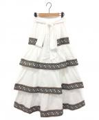 ALEXIA STAM(アリシアスタン)の古着「ティアードマキシロングスカート」|ホワイト