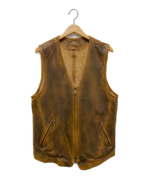 ISAMU KATAYAMA BACKLASH(イサムカタヤマ・バックラッシュ)ISAMU KATAYAMA BACKLASH (イサムカタヤマ バックラッシュ) ドイツカーフバタ振り ブラウン サイズ:XL レザー ベストの古着・服飾アイテム