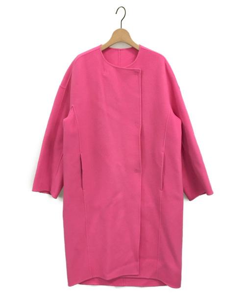 TOMORROW LAND(トゥモローランド)TOMORROW LAND (トゥモローランド) リバーメルトンコクーンコート ピンク サイズ:36の古着・服飾アイテム