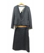 自由区(ジユウク)の古着「ノーカラージャケットセットアップスカートスーツ」|グレー