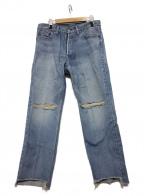 PRIMALCODE(プライマルコード)の古着「CENTER PRESS DENIM CRASH PANTS」 インディゴ