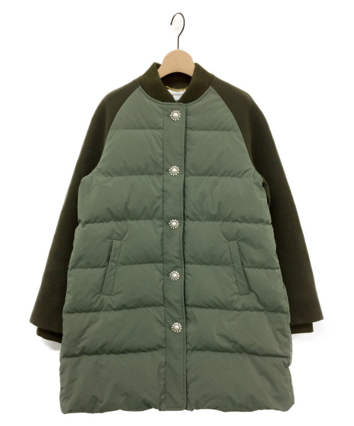 MUVEIL(ミュベール)MUVEIL (ミュベール) パールビジュー付ダウンコート オリーブ サイズ:38の古着・服飾アイテム