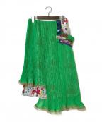 KOLOR(カラー)の古着「ダブルレイヤープリーツスカート」|グリーン