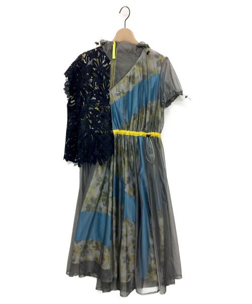KOLOR(カラー)KOLOR (カラー)  floral panelled belted dress グレー サイズ:1の古着・服飾アイテム