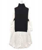 Ameri VINTAGE(アメリビンテージ)の古着「VEST LAYERED SHIRT DRESS」|ブラック
