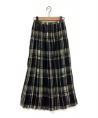 ()の古着「チェックプリーツスカート」|ブラック