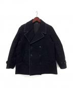 FRANK LEDER()の古着「ジャーマンレザーPコート」|ブラック