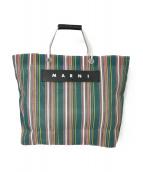 MARNI(マルニ)の古着「FLOWER CAFEストライプショッピングバッグ」|グリーン