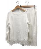 JUSGLITTY(ジャスグリッティー)の古着「ベルト付裾レースニットアップ」|ホワイト