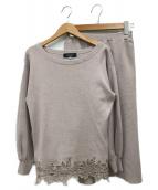 JUSGLITTY(ジャスグリッティー)の古着「ベルト付裾レースニットアップ」|ピンク