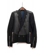 DIOR HOMME(ディオール オム)の古着「レザー切替ウールジャケット」|ブラック