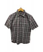 ()の古着「半袖チェックシャツ」|グレー