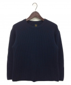BATONER(バトナー)の古着「リブクルーネックセーター」 ネイビー