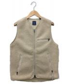 Gymphlex(ジムフレックス)の古着「ノーカラーボアベスト」|アイボリー