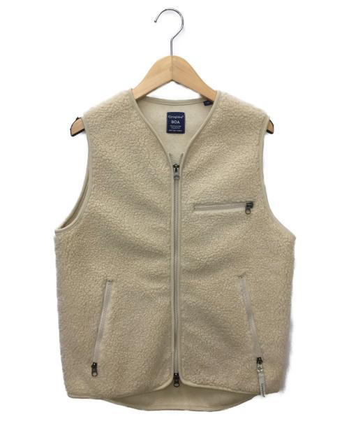 Gymphlex(ジムフレックス)Gymphlex (ジムフレックス) ノーカラーボアベスト アイボリー サイズ:SIZE 14の古着・服飾アイテム