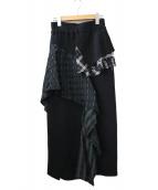 ENFOLD(エンフォルド)の古着「アシメントリーニットスカート」|ブラック