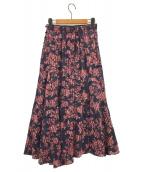 ()の古着「シフォンジャガード切り替えスカート」|ネイビー