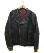 Varde77(バルデセブンティセブン)の古着「レザーライダースジャケット」 ブラック