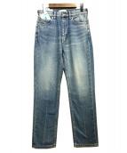 SERGE de bleu(サージ)の古着「ハイウエストテーパードデニムパンツ」|ライトブルー