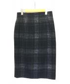 ()の古着「シャギーチェックタイトスカート」 ネイビー