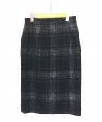 O'NEIL OF DUBLIN(オニールオブダブリン)の古着「シャギーチェックタイトスカート」 ネイビー